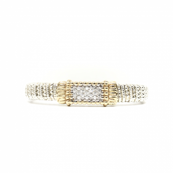 Wide Square Diamond Bangle Bracelet  by Vahan
