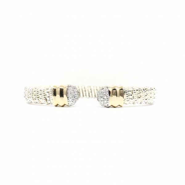 Rounded Open Cuff Diamond Bangle Bracelet  by Vahan