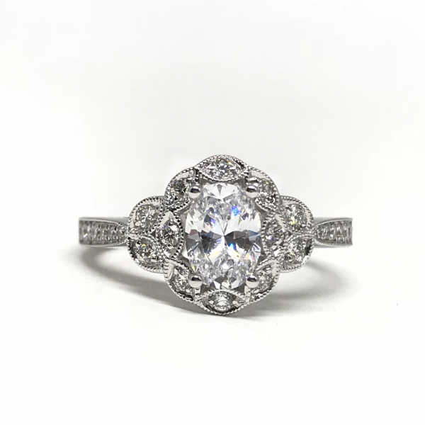 Oval Halo Engagement Ring  by Sylvie