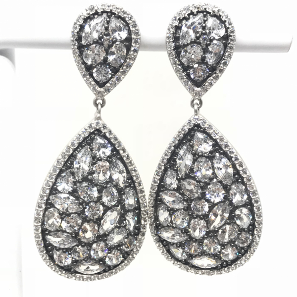 ROSECUT STONES LARGE DROP EARRING by FREIDA ROTHMAN