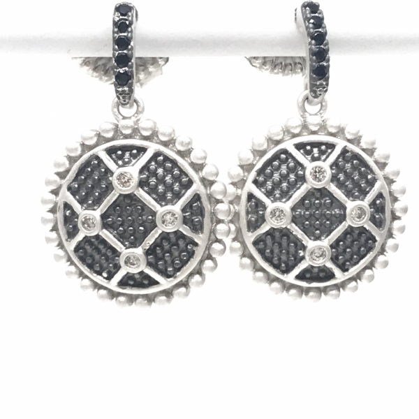 INDUSTRIAL FINISH SHORT DROP EARRINGS  by FREIDA ROTHMAN