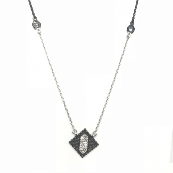 INDUSTRIAL FINISH DIAMOND SHAPE PENDANT by FREIDA ROTHMAN