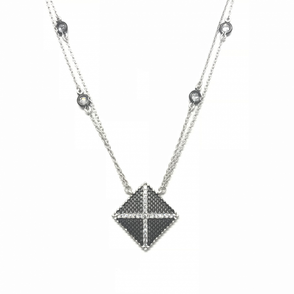 INDUSTRIAL FINISH DOUBLE STRAND PENDANT NECKLACE by FREIDA ROTHMAN